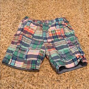 Boys Polo Plaid/Blue Reversible Shorts , Size 7.